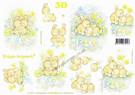 Bunny Rabbits Cuddling 3d Decoupage Sheet by Le Suh